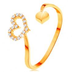 585 arany gyűrű - hullámos szárak szívecskékkel a végén