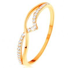 14K sárga arany gyűrű - sima és csillogó hullám átlátszó cirkóniákból