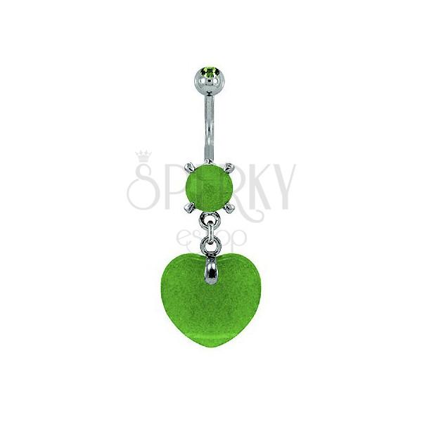 Világoszöld szívecske köldök piercing - kőzet