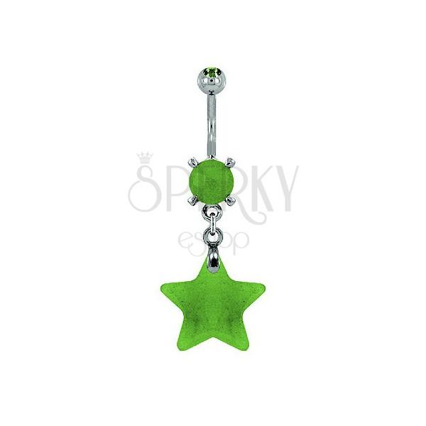 Csillag köldökpiercing természetes kőzetből - zöld