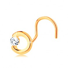 585 arany orr piercing - nem teljes körvonal átlátszó cirkóniával, hajlított alak