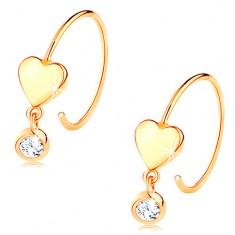 14K sárga arany fülbevaló - vékony sima karika, fényes szív és átlátszó cirkónia
