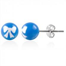 Acél golyós fülbevaló - fehér masni a kék alapon