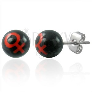 Kis bedugós fülbevaló - piros férfi szimbólum