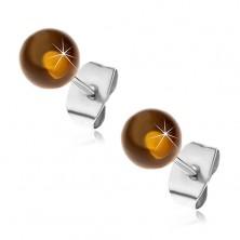 Beszúrós acél fülbevaló, áttetsző sárgásbarna golyó, 6 mm