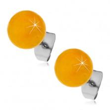 Acél beszúrós fülbevaló, sárgás-narancssárga golyók, 8 mm