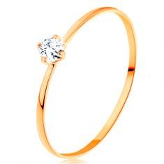 14K sárga arany gyűrű - vékony szárak, kerek átlátszó cirkónia