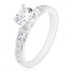 925 ezüst gyűrű, nagy kerek cirkónia, csillogó szárak