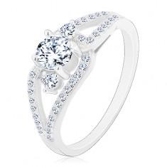 925 ezüst gyűrű, szétválasztott szárak, három kerek cirkónia