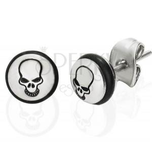 Acél fülbevaló - kör fekete koponyával és gumival
