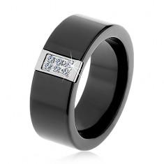 Fekete kerámia gyűrű sima felülettel, acél téglalap díszítés cirkóniákkal