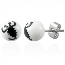 Fehér acél golyós fülbevaló - fekete skorpió