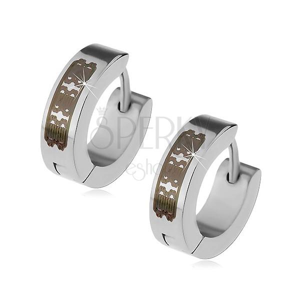 Acél fülbevaló ezüst színben - karika fekete mintával, szögecskés