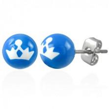 Kék acél golyó fülbevaló - hercegnői korona