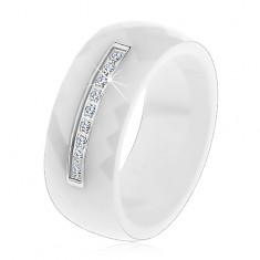 Fehér kerámia gyűrű csiszolt felülettel, vékony acél sáv cirkóniákkal