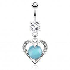 316L acél köldök piercing, ezüst szín, szív körvonal kék kővel díszítve