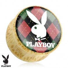 Bambuszból készült fül plug, Playboy nyuszi kockás alapon