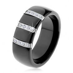 Fekete kerámia gyűrű sima felülettel, három cirkóniás acél sáv