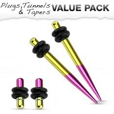 316L acél fültágító szett - két plug és két taper, sárga és lila színben