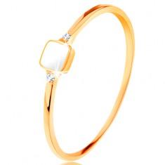 14K sárga arany gyűrű - fehér fénymázas négyzet, apró cirkóniák