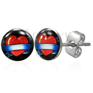 Fülbevaló sebészeti acélból - szív kék szalaggal