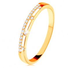 14K sárga arany gyűrű - átlátszó cirkóniás sáv, fehér fénymázas vonalak
