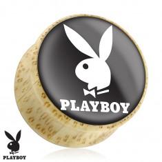 Nyereg alakú plug természetes anyagból, Playboy nyuszi, fekete alapon