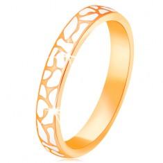 14K sárga arany gyűrű - szabálytalan fehér fénymázas foltok
