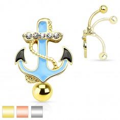316L acél köldök piercing, kék vasmacska kötéllel és átlátszó cirkóniákkal