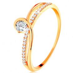 585 arany gyűrű szétválasztott szárak, átlátszó cirkóniák