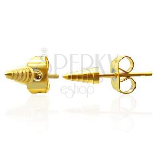 Fülbevaló acélból - arany bordás kúp