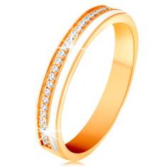 14K sárga arany karikagyűrű - vékony cirkóniás sáv és fehér fénymáz