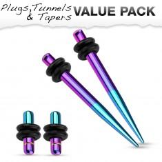 316L acél fültágító szett - két plug és két taper, kék és lila színben