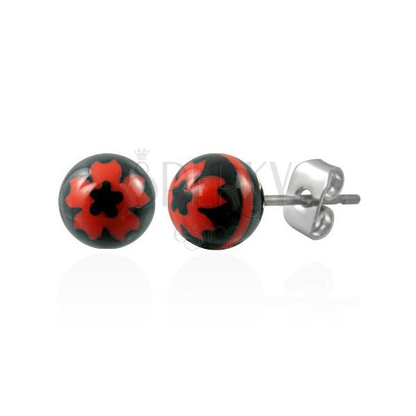 Fekete golyó fülbevaló acélból - piros virág motívummal