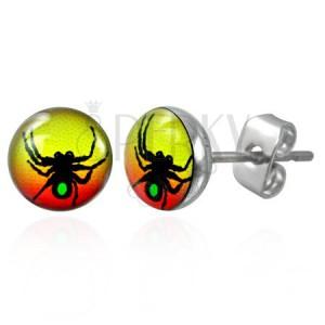 Színes acél fülbevaló - pók szimbólum