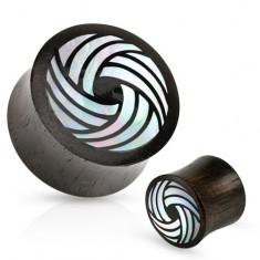 Fából készült fekete plug, nyerges, hajlított vonalak fehér gyöngyházfénnyel