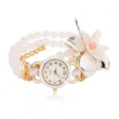 Karóra átlátszó fehér gyöngyökből, számlap cirkóniákkal, nagy méretű virág