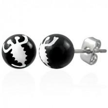 Fekete golyó fülbevaló - fehér skorpió