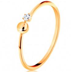 14K sárga arany gyűrű - fényes szárak golyóval és cirkóniával a végein