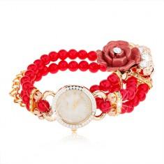 Analóg karóra, piros gyöngyös szíjjal, számlap cirkóniákkal, rózsa