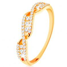585 arany gyűrű - hullámos szárak, kerek cirkóniák