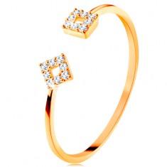 Gyűrű 14K sárga aranyból elválasztott szárakkal, kis cirkóniás négyzetek