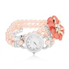 Gyöngyös karóra, számlap cirkóniákkal, rózsaszín gyöngyök, virág