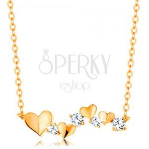 14K sárga arany nyakék - szívecskék és átlátszó cirkóniák, vékony lánc