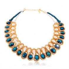 Masszív nyakék, kék és átlátszó, csiszolt gyöngyök, fonott lánc