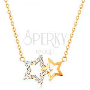 14K sárga arany nyakék - két csillag körvonal, vékony nyaklánc
