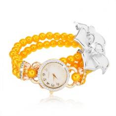 Gyöngyös karóra, sárga gyöngyökből, fehér virág, számlap cirkóniákkal