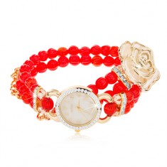 Analóg karóra, gyöngyös piros karkötő, számlap cirkóniával, fehér rózsa