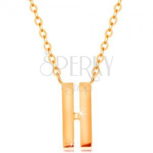 14K sárga arany nyakék - két vékony sáv fényes felülettel