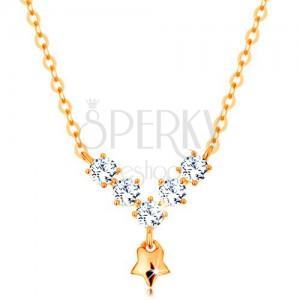 14K sárga arany nyakék - kerek cirkóniák, fénylő csillag
